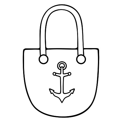 Beach bag. Sketch. Vector illustration. Outline on an isolated white background. Doodle style. Women accessory with an anchor ornament. Marine theme. Large bag for personal belongings. A must for summer trips.