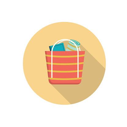 Beach Bag Summer icon With Shadow