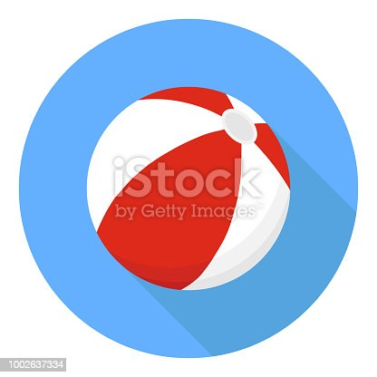 Beach ball. A beach ball of red color on a blue background with a shadow. Flat design, vector illustration, vector.