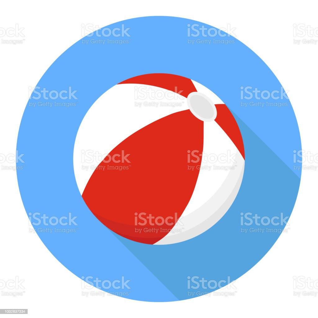 ビーチボール。影付きの青色の背景に赤い色のビーチボール。 ベクターアートイラスト