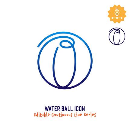 Beach Ball Continuous Line Editable Icon