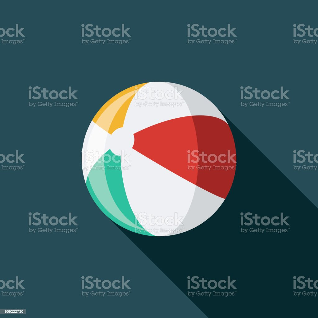 Beach Ball Flat Design Summer Icon with Side Shadow vector art illustration