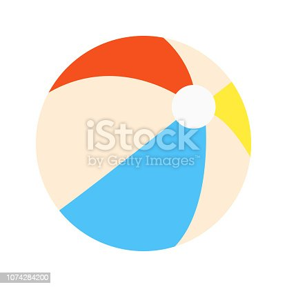 istock Beach ball flat style design vector illustration icon sign isolated on white background. Retro styled toy for summer games or holidays 1074284200