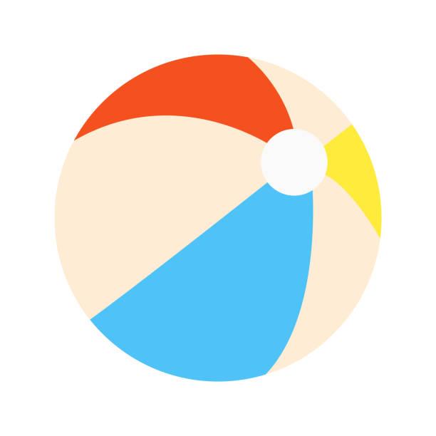 ilustrações, clipart, desenhos animados e ícones de bola de praia plana estilo design vector sinal de ícone de ilustração isolado no fundo branco. estilo retrô brinquedo para os jogos de verão ou férias - {{asset.href}}