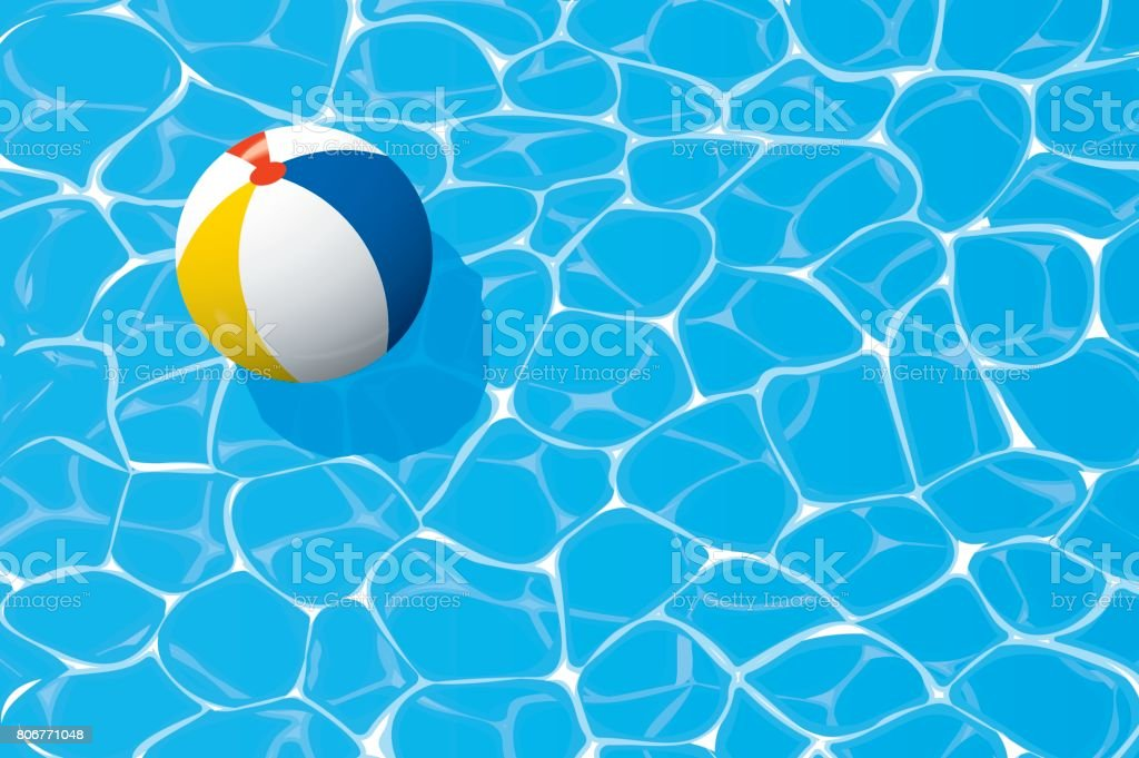beach ball floating in a blue swimming pool. Summer background. vector art illustration