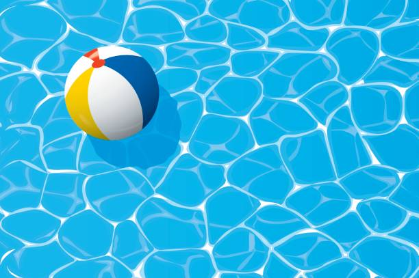 beach ball floating in a blue swimming pool. Summer background. beach ball floating in a blue swimming pool. Summer background. floating on water stock illustrations