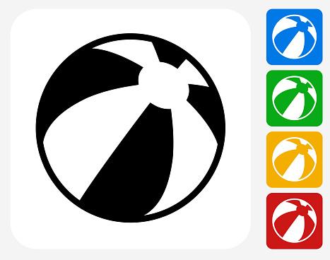 Beach Ball Icon Flat Graphic Design