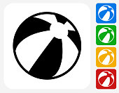 Beach Ball Icon. This 100% royalty free vector illustration features the main icon pictured in black inside a white square. The alternative color options in blue, green, yellow and red are on the right of the icon and are arranged in a vertical column.