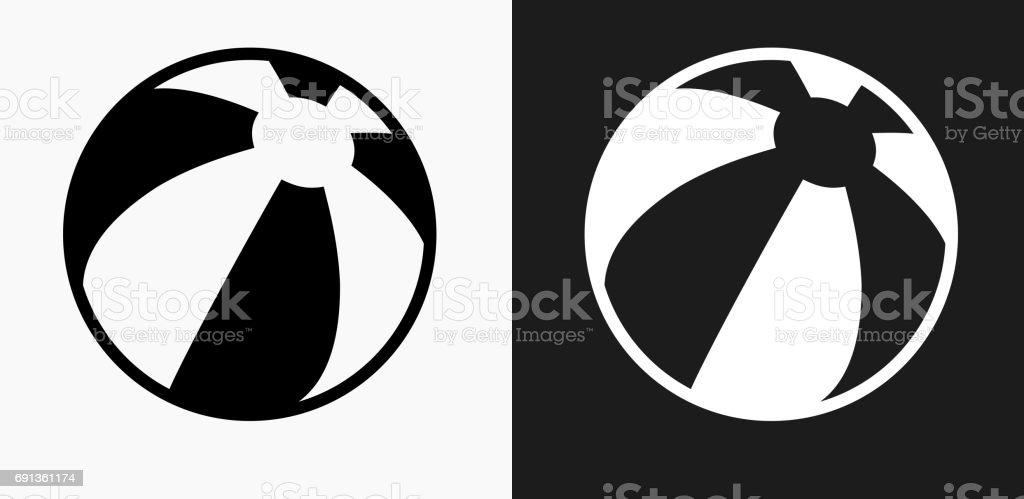 黒と白のベクトルの背景のビーチ ボール アイコン ベクターアートイラスト