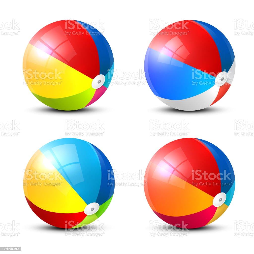 Icônes de ballon de plage - Illustration vectorielle