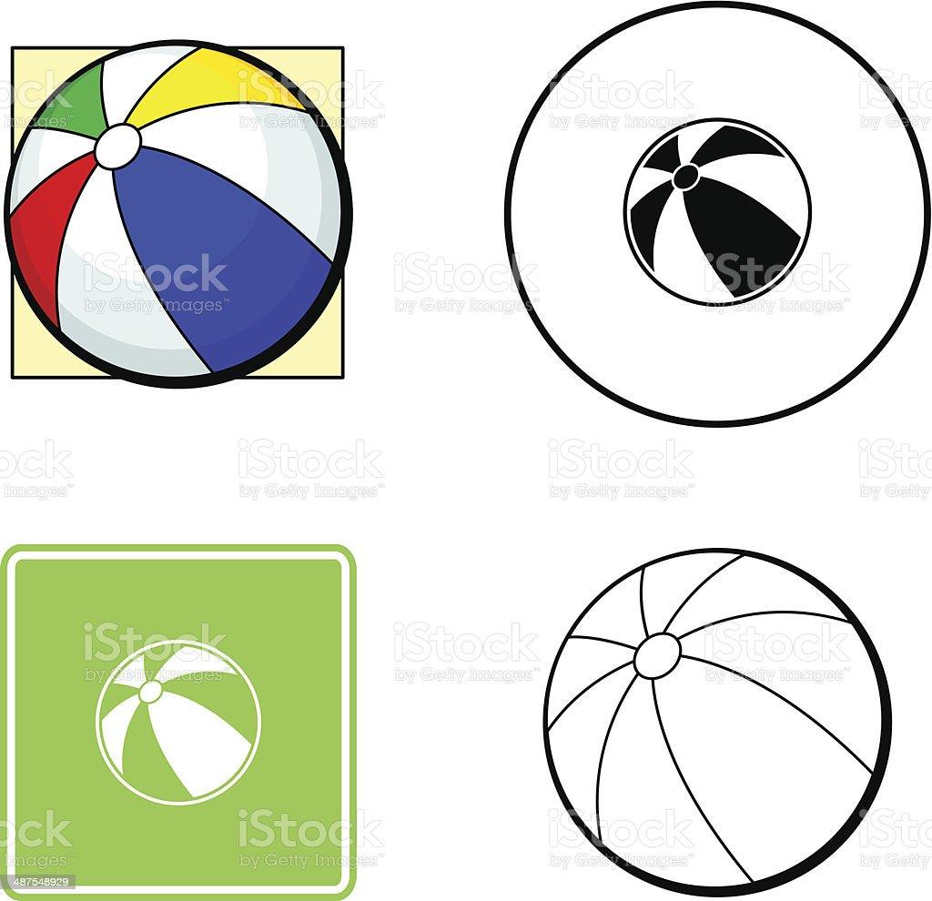 beach ball mixed set vector art illustration