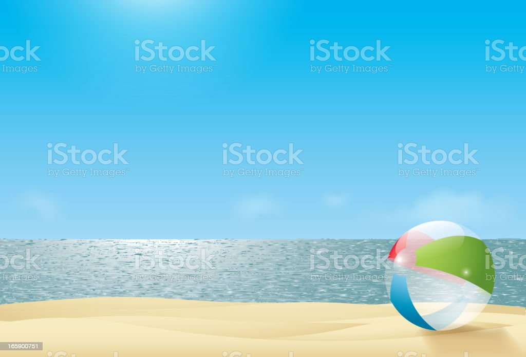 beach ball on a beach next to the sea royalty-free beach ball on a beach next to the sea stock vector art & more images of backgrounds