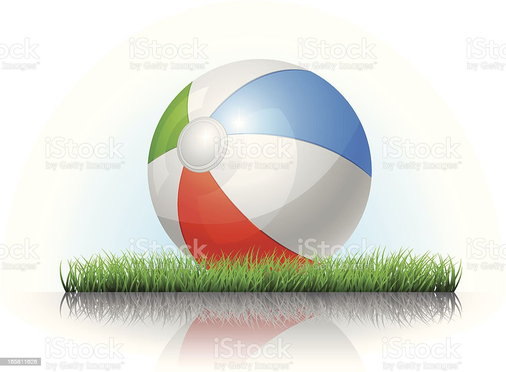 Beach Ball on the Grass royalty-free stock vector art