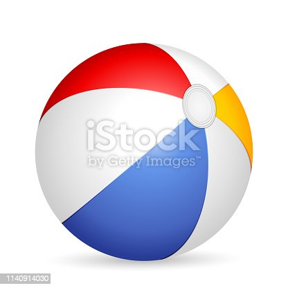 Beach ball on a white background. Vector illustration.