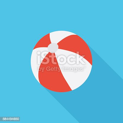Beach ball vector icon isolated on the blue background