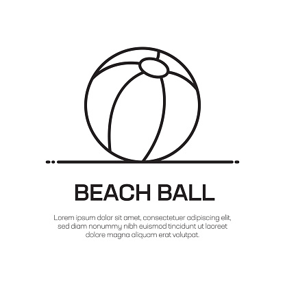 Beach Ball Vector Line Icon - Simple Thin Line Icon, Premium Quality Design Element