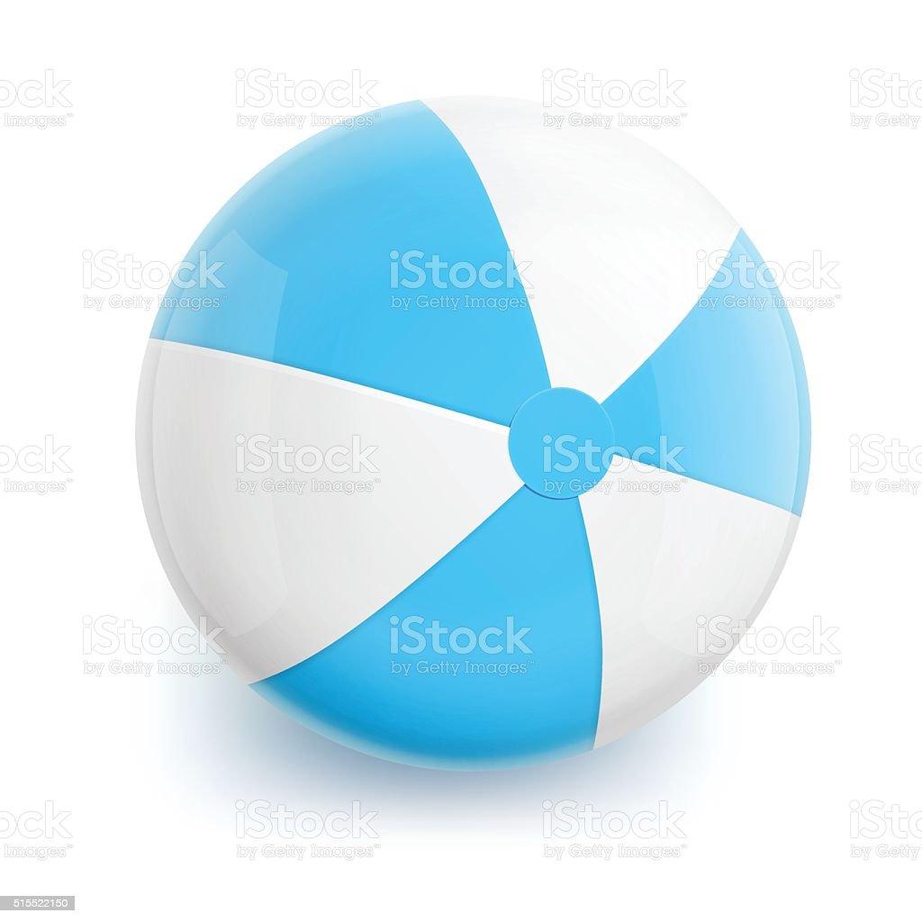 Beach Ball with Blue Stripes vector art illustration