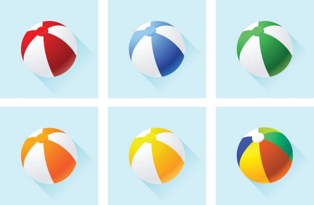 beach balls icon set - piłka stock illustrations