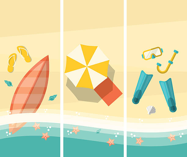 Beach Banners vector art illustration