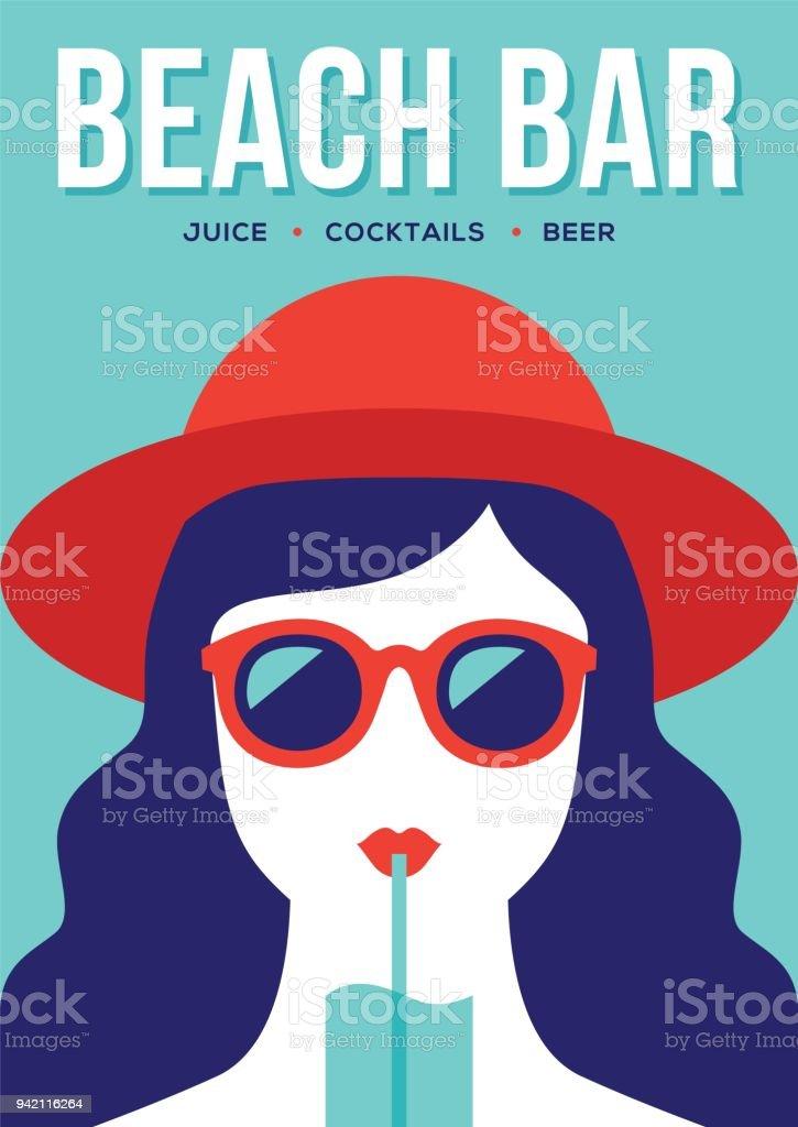 Beach bar banner with girl drinking cocktail. vector art illustration
