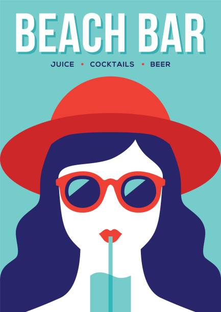 Beach bar banner with girl drinking cocktail. Beach bar banner or poster design with girl in red summer hat and sunglasses drinking cocktail. Flat illustration in retro style. seyahat noktaları illustrationsları stock illustrations