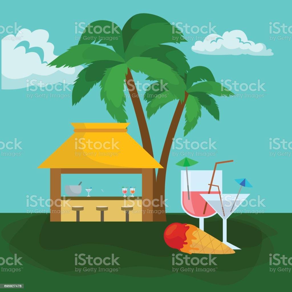 Strandbar Unter Der Palme Mit Eis Tropische Sommer Und Trunk ...