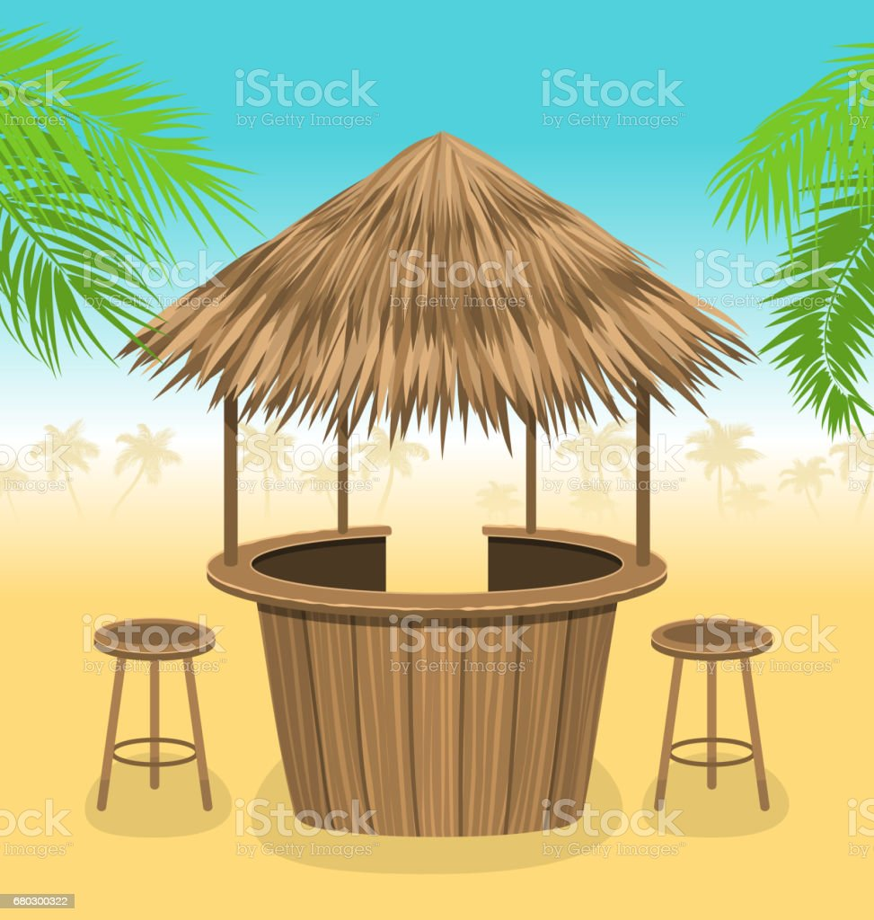 Beach Bar Thatch. Outdoor Background with Lounge Cafe vector art illustration