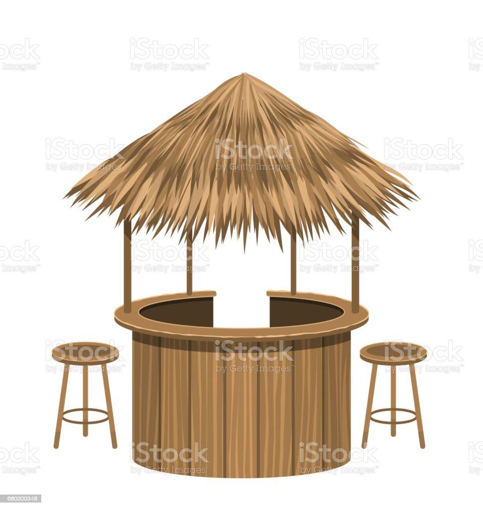 Beach Bar Thatch. Vintage Lounge Cafe Isolated vector art illustration