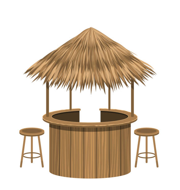 Beach Bar Thatch. Vintage Lounge Cafe Isolated vector art illustration