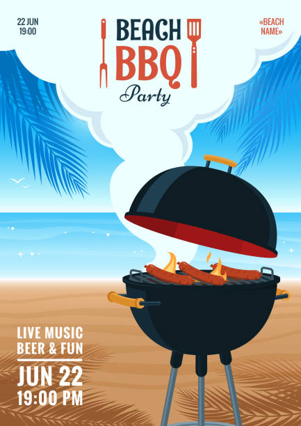 beach barbecue party invitation. summer bbq party flyer. grill illustration on the background of the beach. design for flyer, menu, poster, announcement. vector eps 10. - grill stock illustrations