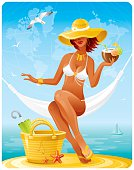 Colorful vacation illustration with tan sexy girl in white bikini and big retro sun hat with coconut cocktail swinging in the hammock. Sea and sky wwith world map background. CDR-11, AI 10, JPG, EPS-8 are available.