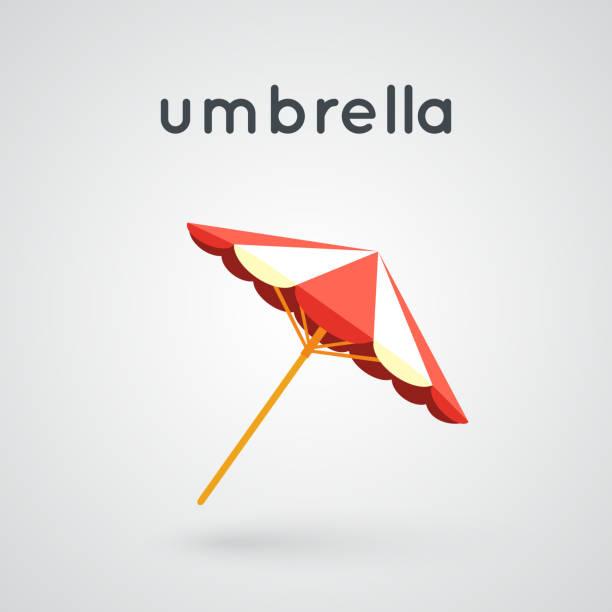 Beach big umbrella. vector art illustration