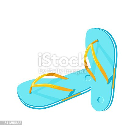 istock Beach blue flip-flops isolated on white background 1311386637