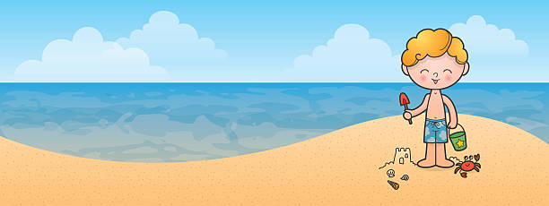 Beach boy vector art illustration