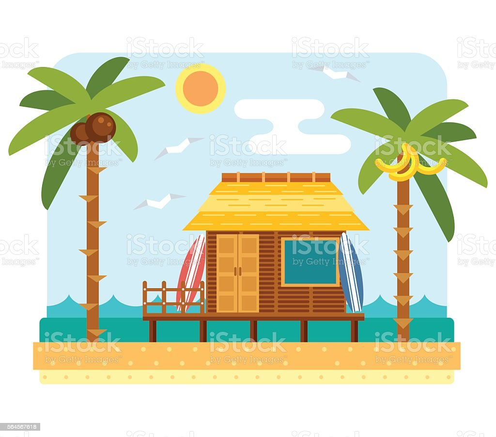 royalty free beach hut clip art vector images illustrations istock rh istockphoto com beach scene clip art images