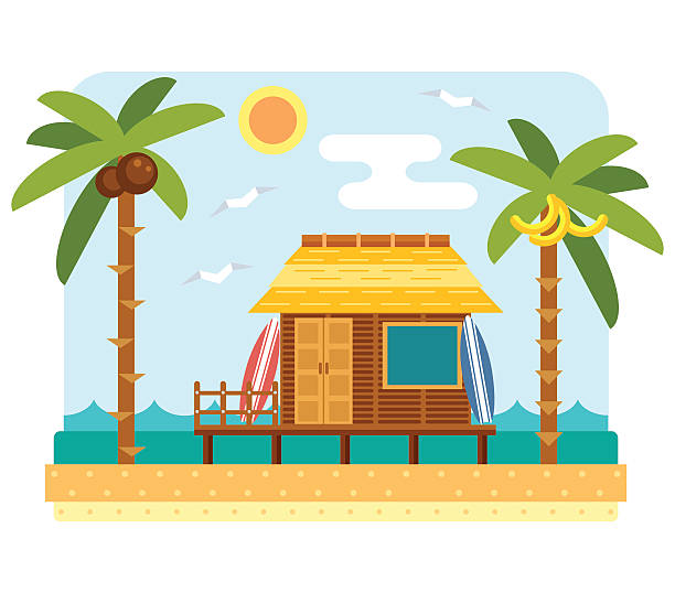 Beach bungalow hotel vector art illustration