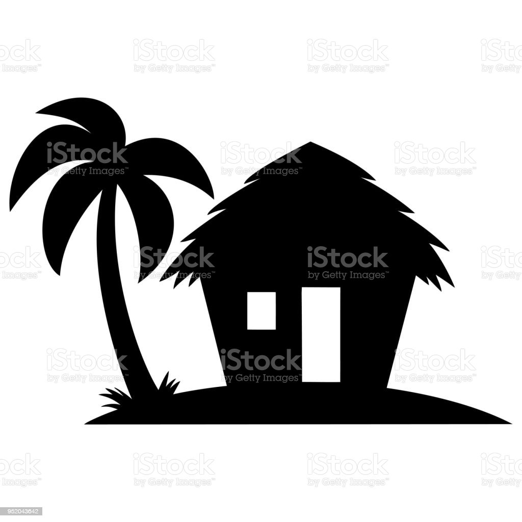 Beach Cabana Silhouette vector art illustration