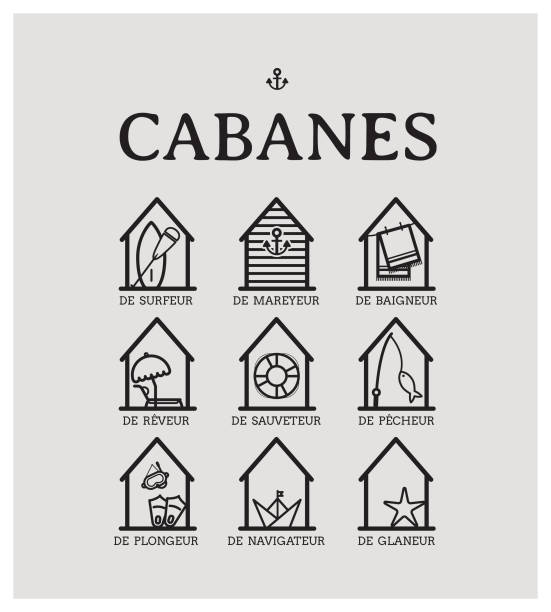 cabine de plages vector art illustration