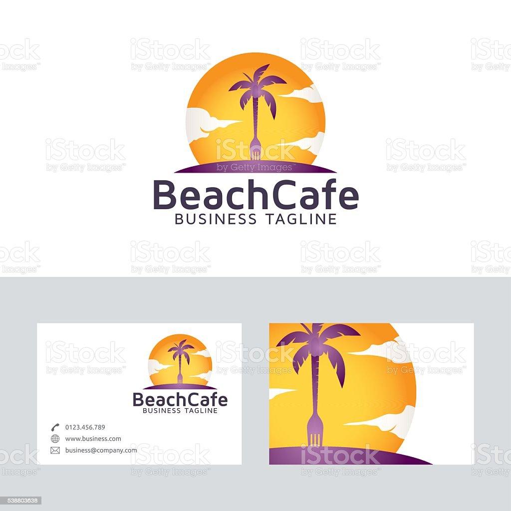 beach cafe vector logo with business card template stock vector