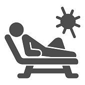 Beach chair and a man relaxing in sun solid icon, Aquapark concept, Man sunbathing sign on white background, Person relaxing on a chaise longue icon in glyph style. Vector graphics