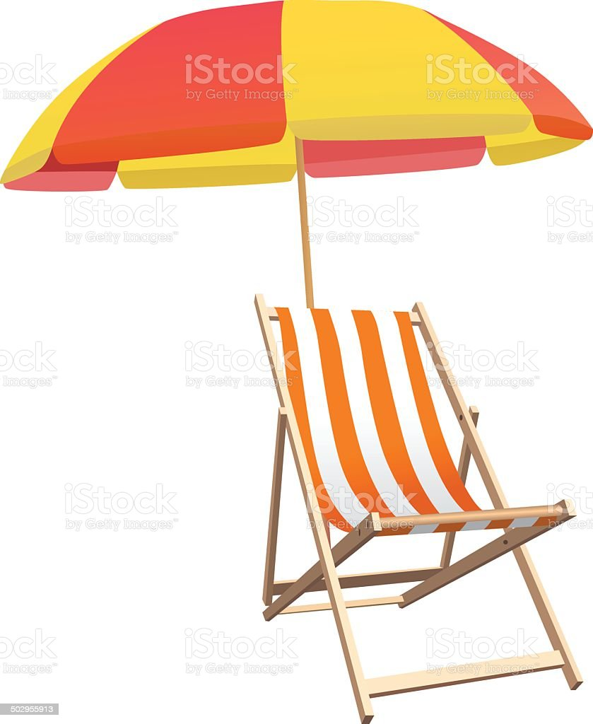 Beach Chair and Parasol - Illustration Vector illustration of beach chair and parasol Armchair stock vector