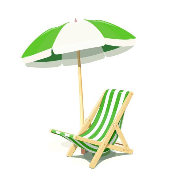 ruhen, liegestuhl und sonnenschirm für den sommer - stuhllehnen stock-grafiken, -clipart, -cartoons und -symbole