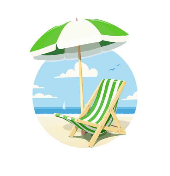illustrations, cliparts, dessins animés et icônes de chaise de plage et parasol pour le reste de l'été - transat