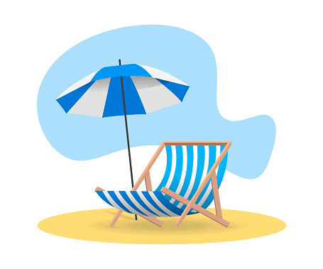 Beach chair and umbrella from the sun on sand in blue color. Vector flat illustrations.