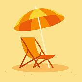 istock Beach chair and umbrella 946957524