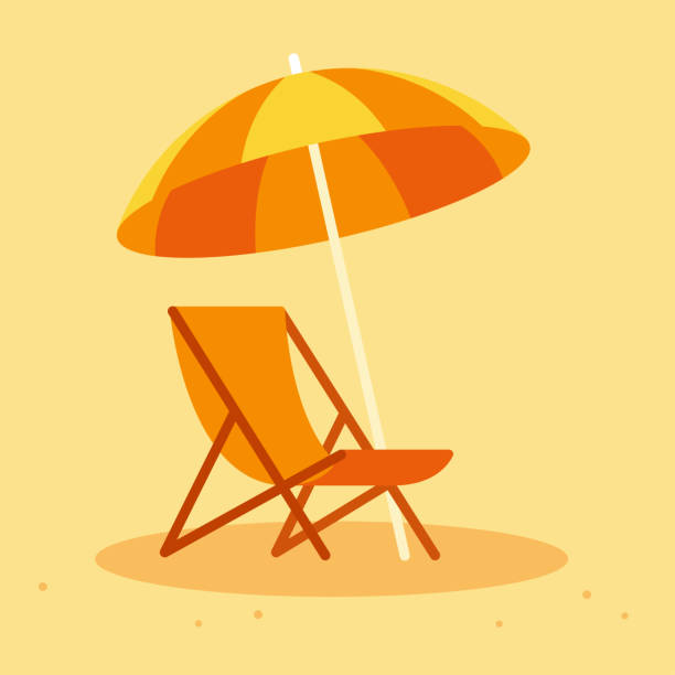 Beach chair and umbrella Beach chair and umbrella in simple flat cartoon style. Summer vacation vector illustration. outdoor chair stock illustrations