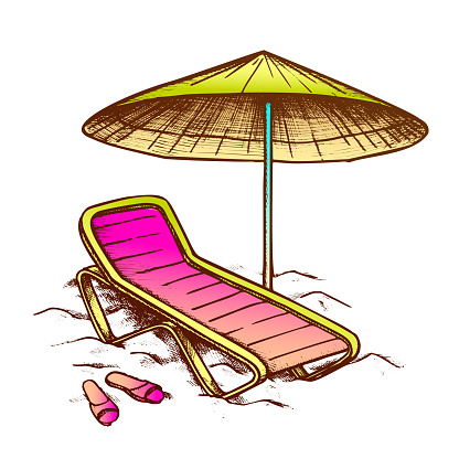 Beach Chair With Umbrella And Slippers Ink Vector