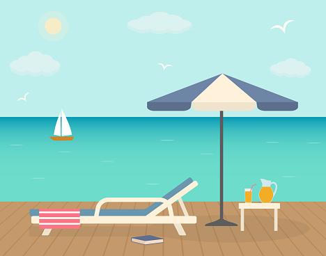Beach chair with umbrella on wooden pier.