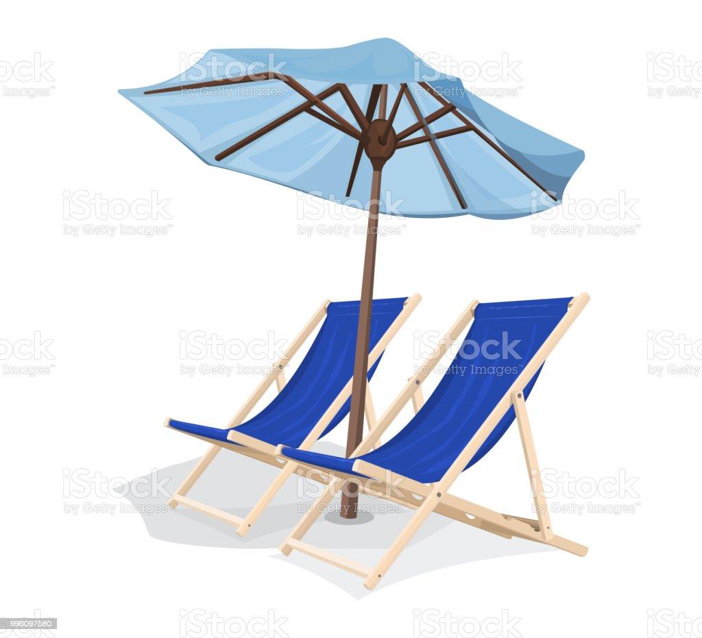 Strandkorb clipart  Strandkorb Mit Regenschirm Stock Vektor Art und mehr Bilder von Blau ...