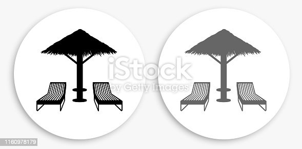 Beach Chairs Black and White Round Icon. This 100% royalty free vector illustration is featuring a round button with a drop shadow and the main icon is depicted in black and in grey for a roll-over effect.